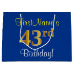 [ Thumbnail: Elegant, Blue, Faux Gold 43rd Birthday + Name Gift Bag ]