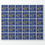 [ Thumbnail: Elegant, Blue, Faux Gold 43rd Birthday + Name Wrapping Paper ]