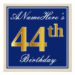 [ Thumbnail: Elegant, Blue, Faux Gold 44th Birthday + Name Invitation ]