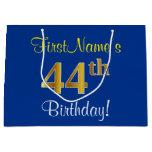 [ Thumbnail: Elegant, Blue, Faux Gold 44th Birthday + Name Gift Bag ]