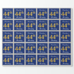 [ Thumbnail: Elegant, Blue, Faux Gold 44th Birthday + Name Wrapping Paper ]