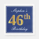 [ Thumbnail: Elegant Blue, Faux Gold 46th Birthday; Custom Name Napkin ]