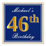 [ Thumbnail: Elegant, Blue, Faux Gold 46th Birthday + Name Invitation ]