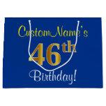 [ Thumbnail: Elegant, Blue, Faux Gold 46th Birthday + Name Gift Bag ]