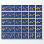[ Thumbnail: Elegant, Blue, Faux Gold 46th Birthday + Name Wrapping Paper ]