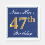 [ Thumbnail: Elegant Blue, Faux Gold 47th Birthday; Custom Name Napkin ]