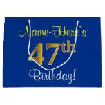 [ Thumbnail: Elegant, Blue, Faux Gold 47th Birthday + Name Gift Bag ]