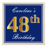 [ Thumbnail: Elegant, Blue, Faux Gold 48th Birthday + Name Invitation ]
