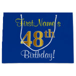 [ Thumbnail: Elegant, Blue, Faux Gold 48th Birthday + Name Gift Bag ]