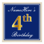 [ Thumbnail: Elegant, Blue, Faux Gold 4th Birthday; Custom Name Invitation ]