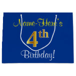 [ Thumbnail: Elegant, Blue, Faux Gold 4th Birthday; Custom Name Gift Bag ]