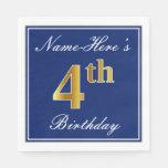[ Thumbnail: Elegant Blue, Faux Gold 4th Birthday + Custom Name Napkin ]