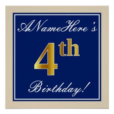 Art Themed Elegant, Blue, Faux Gold 4th Birthday; Custom Name Poster