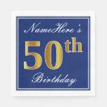 [ Thumbnail: Elegant Blue, Faux Gold 50th Birthday; Custom Name Paper Napkin ]