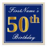[ Thumbnail: Elegant, Blue, Faux Gold 50th Birthday + Name Invitation ]