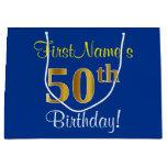 [ Thumbnail: Elegant, Blue, Faux Gold 50th Birthday + Name Gift Bag ]