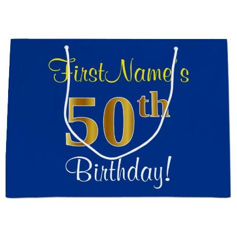 Elegant, Blue, Faux Gold 50th Birthday + Name Large Gift Bag