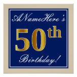 [ Thumbnail: Elegant, Blue, Faux Gold 50th Birthday + Name Poster ]