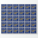 [ Thumbnail: Elegant, Blue, Faux Gold 50th Birthday + Name Wrapping Paper ]