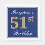 [ Thumbnail: Elegant Blue, Faux Gold 51st Birthday; Custom Name Napkin ]