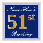 [ Thumbnail: Elegant, Blue, Faux Gold 51st Birthday + Name Invitation ]