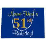 [ Thumbnail: Elegant, Blue, Faux Gold 51st Birthday + Name Gift Bag ]