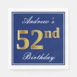 [ Thumbnail: Elegant Blue, Faux Gold 52nd Birthday; Custom Name Napkin ]