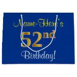 [ Thumbnail: Elegant, Blue, Faux Gold 52nd Birthday + Name Gift Bag ]