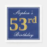 [ Thumbnail: Elegant Blue, Faux Gold 53rd Birthday; Custom Name Napkin ]