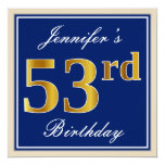 [ Thumbnail: Elegant, Blue, Faux Gold 53rd Birthday + Name Invitation ]