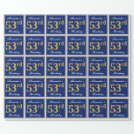 [ Thumbnail: Elegant, Blue, Faux Gold 53rd Birthday + Name Wrapping Paper ]