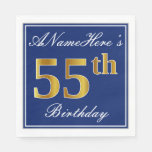 [ Thumbnail: Elegant Blue, Faux Gold 55th Birthday; Custom Name Paper Napkin ]