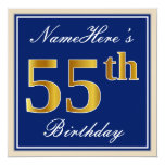 [ Thumbnail: Elegant, Blue, Faux Gold 55th Birthday + Name Invitation ]