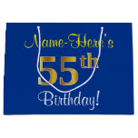 [ Thumbnail: Elegant, Blue, Faux Gold 55th Birthday + Name Gift Bag ]