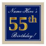 [ Thumbnail: Elegant, Blue, Faux Gold 55th Birthday + Name Poster ]
