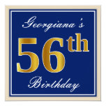 [ Thumbnail: Elegant, Blue, Faux Gold 56th Birthday + Name Invitation ]