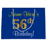 [ Thumbnail: Elegant, Blue, Faux Gold 56th Birthday + Name Gift Bag ]