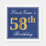 [ Thumbnail: Elegant Blue, Faux Gold 58th Birthday; Custom Name Napkin ]