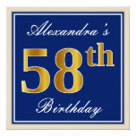 [ Thumbnail: Elegant, Blue, Faux Gold 58th Birthday + Name Invitation ]