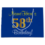 [ Thumbnail: Elegant, Blue, Faux Gold 58th Birthday + Name Gift Bag ]