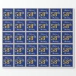 [ Thumbnail: Elegant, Blue, Faux Gold 58th Birthday + Name Wrapping Paper ]