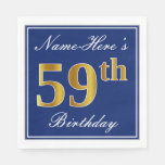 [ Thumbnail: Elegant Blue, Faux Gold 59th Birthday; Custom Name Napkin ]