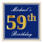 [ Thumbnail: Elegant, Blue, Faux Gold 59th Birthday + Name Invitation ]