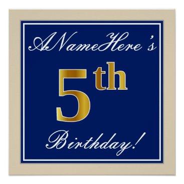 Art Themed Elegant, Blue, Faux Gold 5th Birthday; Custom Name Poster