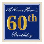 [ Thumbnail: Elegant, Blue, Faux Gold 60th Birthday + Name Invitation ]