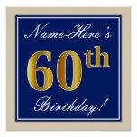 [ Thumbnail: Elegant, Blue, Faux Gold 60th Birthday + Name Poster ]