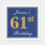 [ Thumbnail: Elegant Blue, Faux Gold 61st Birthday; Custom Name Napkin ]