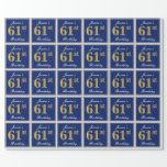 [ Thumbnail: Elegant, Blue, Faux Gold 61st Birthday + Name Wrapping Paper ]