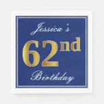 [ Thumbnail: Elegant Blue, Faux Gold 62nd Birthday; Custom Name Napkin ]