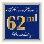 [ Thumbnail: Elegant, Blue, Faux Gold 62nd Birthday + Name Invitation ]